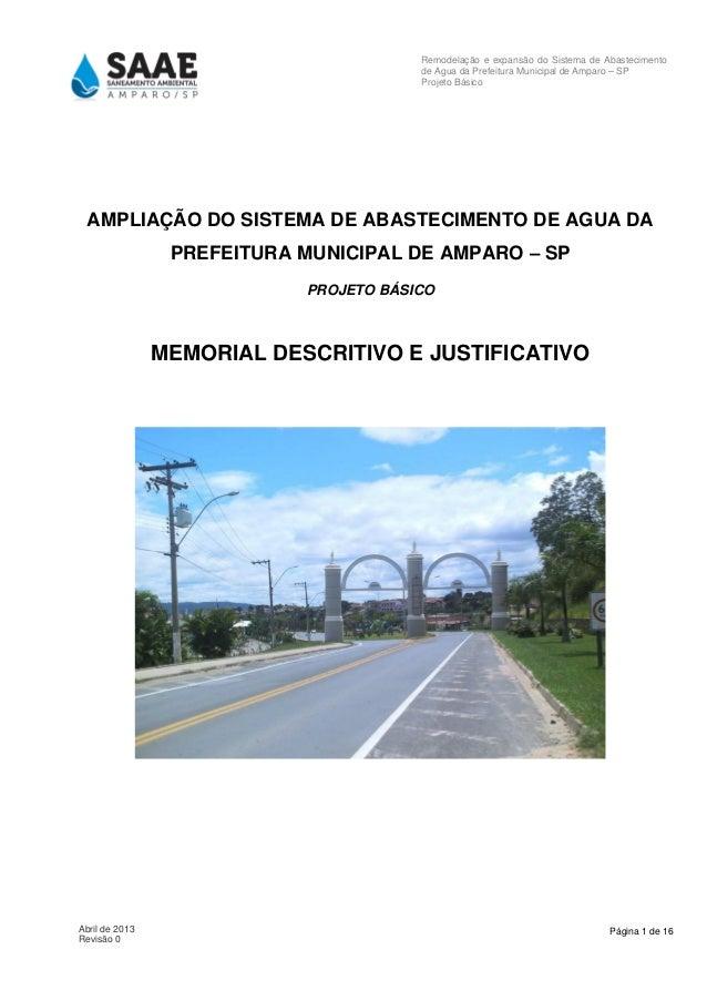 Página 1 de 16Abril de 2013 Revisão 0 Remodelação e expansão do Sistema de Abastecimento de Agua da Prefeitura Municipal d...