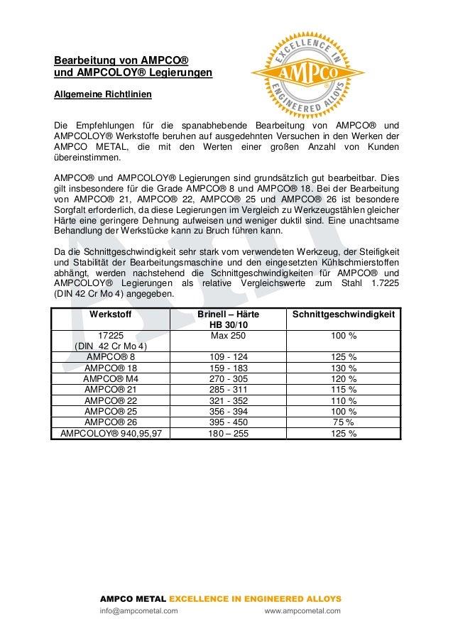 Bearbeitung von AMPCO®und AMPCOLOY® LegierungenAllgemeine RichtlinienDie Empfehlungen für die spanabhebende Bearbeitung vo...