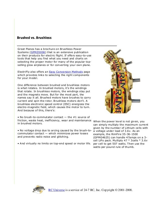 How ro choose an electric motor for RC Planes