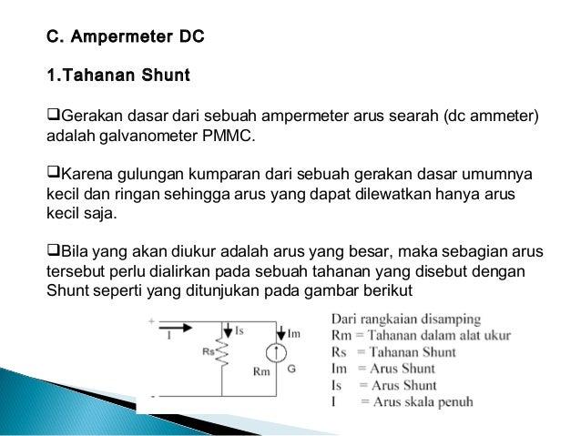 C. Ampermeter DC1.Tahanan ShuntGerakan dasar dari sebuah ampermeter arus searah (dc ammeter)adalah galvanometer PMMC.Kar...