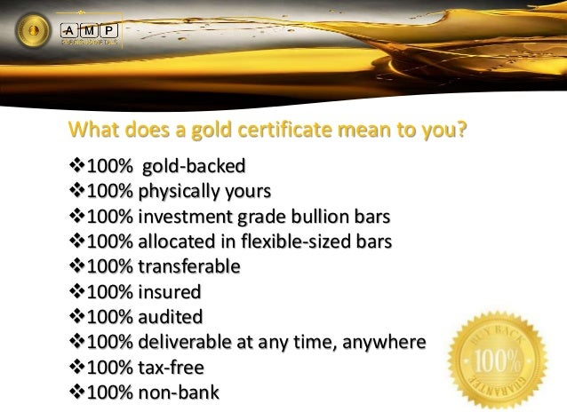 AMP Gold Ownership Certificate