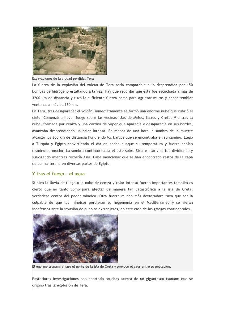 Excavaciones de la ciudad perdida, TeraLa fuerza de la explosión del volcán de Tera sería comparable a la desprendida por ...