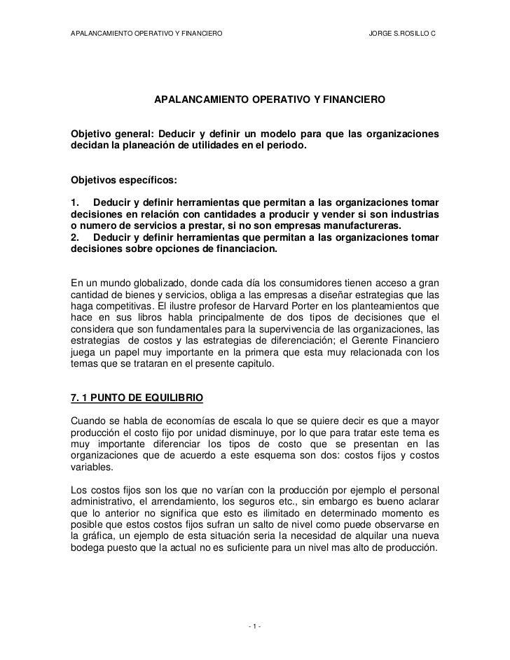 APALANCAMIENTO OPERATIVO Y FINANCIERO                              JORGE S.ROSILLO C                         APALANCAMIENT...