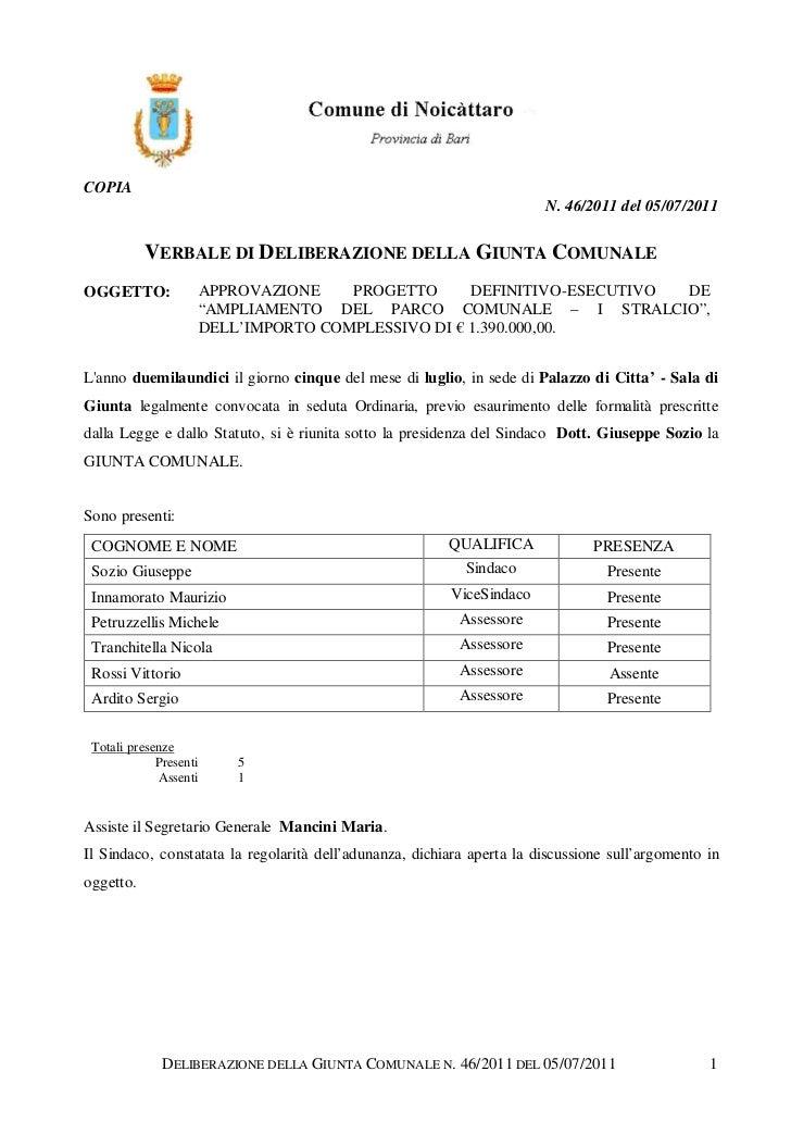 COPIA                                                                        N. 46/2011 del 05/07/2011           VERBALE D...