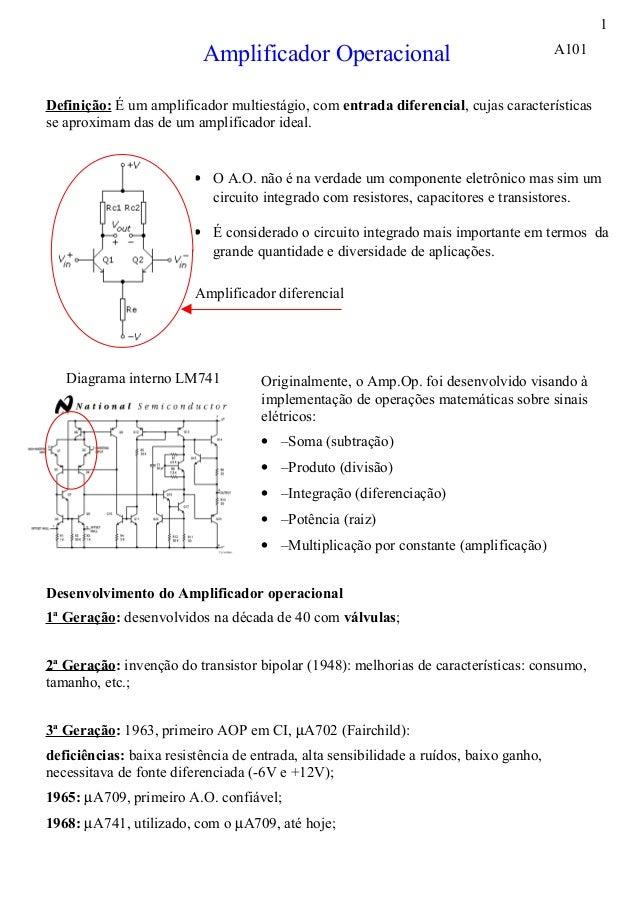 1                          Amplificador Operacional                                      A101Definição: É um amplificador ...