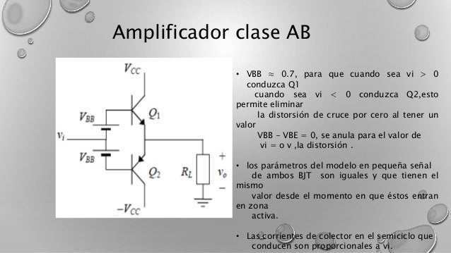 Amplificador clase AB  • VBB ≈ 0.7, para que cuando sea vi > 0  conduzca Q1  cuando sea vi < 0 conduzca Q2,esto  permite e...