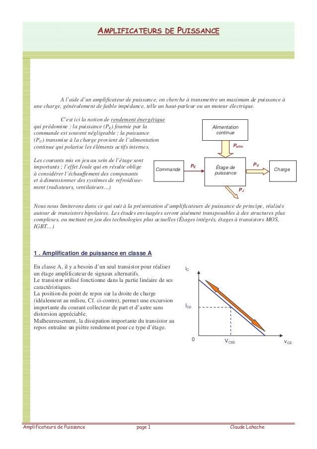 A l'aide d'un amplificateur de puissance, on cherche à transmettre un maximum de puissance à une charge, généralement de f...