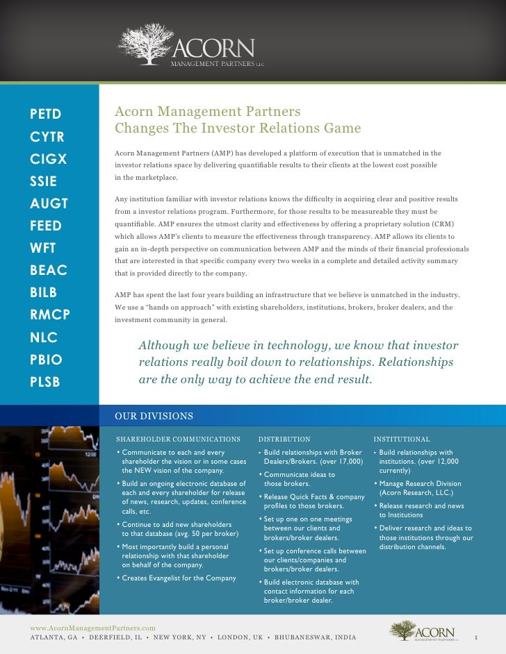 PETD                 Acorn Management Partners                     Changes The Investor Relations GameCYTR                ...