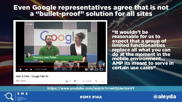 """#SMX #14A @aleyda Even Google representatives agree that is not  a """"bullet-proof"""" solution for all sites """"It wouldn't be ..."""