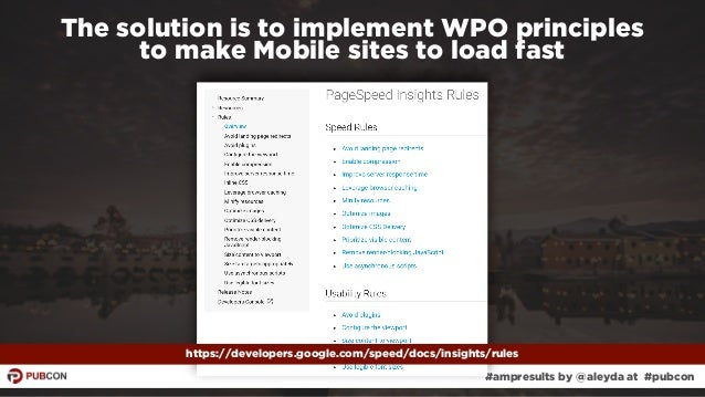 #ampresults by @aleyda at #pubcon The solution is to implement WPO principles  to make Mobile sites to load fast https://...