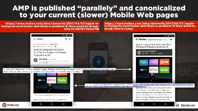 """#ampresults by @aleyda at #pubcon AMP is published """"parallely"""" and canonicalized  to your current (slower) Mobile Web pag..."""
