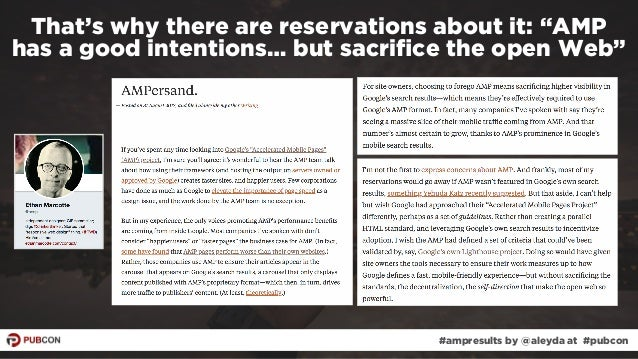 """#ampresults by @aleyda at #pubcon That's why there are reservations about it: """"AMP  has a good intentions… but sacrifice t..."""