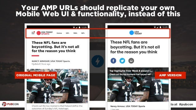 #ampresults by @aleyda at #pubcon Your AMP URLs should replicate your own  Mobile Web UI & functionality, instead of this...