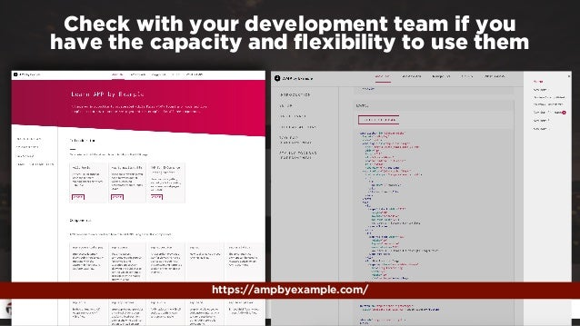 #ampresults by @aleyda at #pubcon Check with your development team if you  have the capacity and flexibility to use them h...