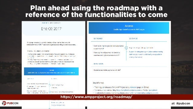 #ampresults by @aleyda at #pubcon Plan ahead using the roadmap with a  reference of the functionalities to come https://w...