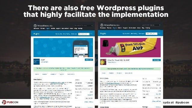 #ampresults by @aleyda at #pubcon There are also free Wordpress plugins  that highly facilitate the implementation