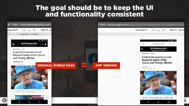 #ampresults by @aleyda at #pubcon The goal should be to keep the UI  and functionality consistent ORIGINAL MOBILE PAGE = ...