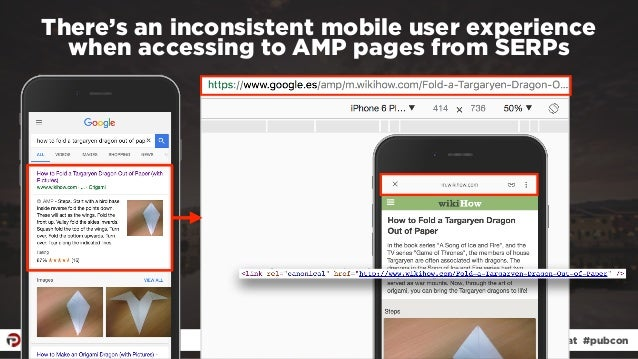 #ampresults by @aleyda at #pubcon There's an inconsistent mobile user experience  when accessing to AMP pages from SERPs