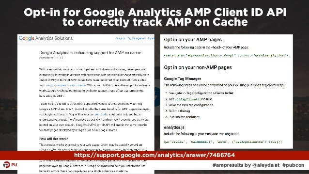 #ampresults by @aleyda at #pubcon Opt-in for Google Analytics AMP Client ID API  to correctly track AMP on Cache https://...