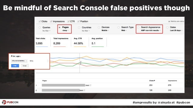 #ampresults by @aleyda at #pubcon Be mindful of Search Console false positives though