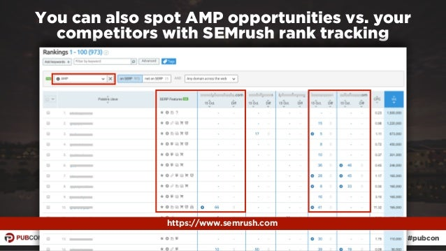#ampresults by @aleyda at #pubcon You can also spot AMP opportunities vs. your competitors with SEMrush rank tracking http...