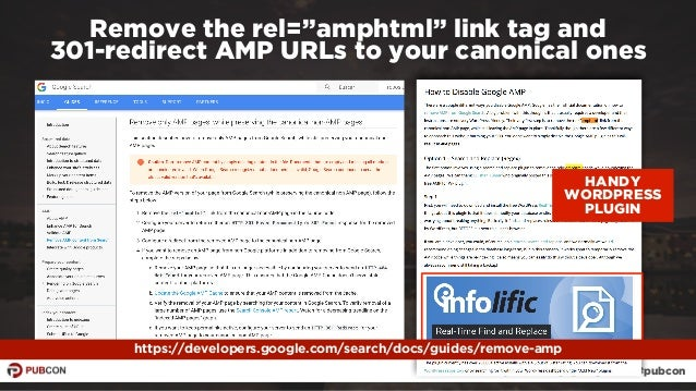 """#ampresults by @aleyda at #pubcon Remove the rel=""""amphtml"""" link tag and  301-redirect AMP URLs to your canonical ones htt..."""