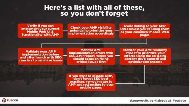 #ampresults by @aleyda at #pubcon Here's a list with all of these,  so you don't forget Verify if you can Implement your ...