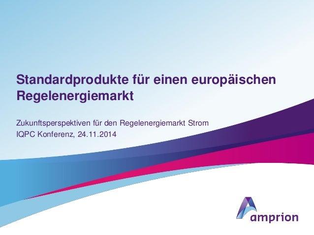 Standardprodukte für einen europäischen Regelenergiemarkt Zukunftsperspektiven für den Regelenergiemarkt Strom IQPC Konfer...