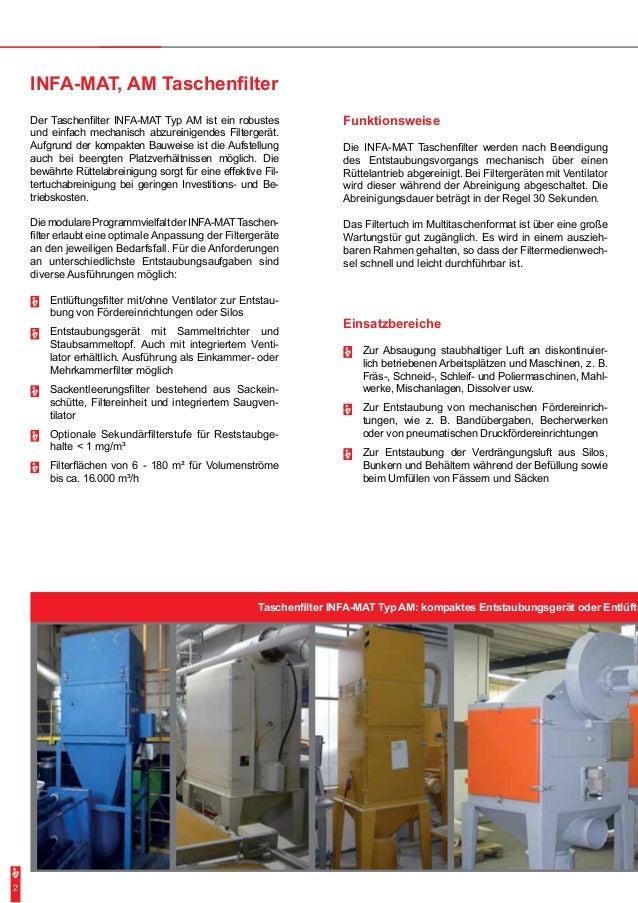 Taschenfilter INFA-MAT Typ AM: kompaktes Entstaubungsgerät oder Entlüftu Funktionsweise Die INFA-MAT Taschenfilter werden ...