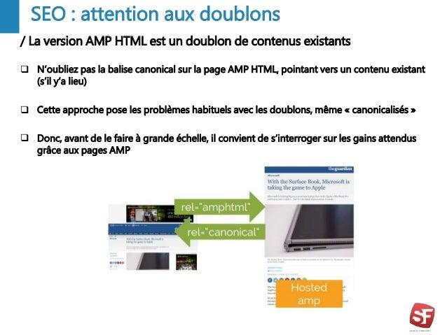 / La version AMP HTML est un doublon de contenus existants - 9 - SEO : attention aux doublons  N'oubliez pas la balise ca...