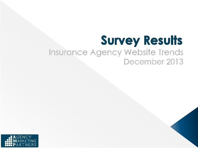 The purpose of this survey was to generate information on the industry standards for insurance agency website usage and ef...