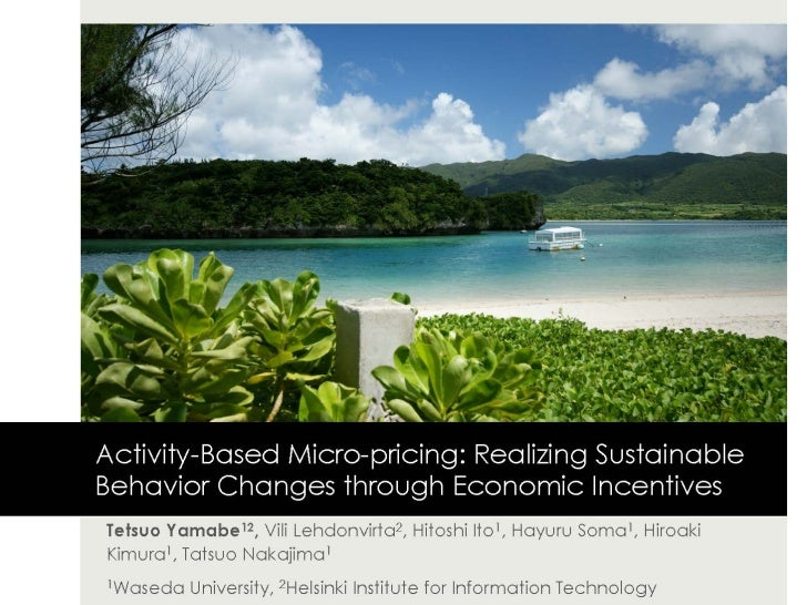 Activity-Based Micro-pricing: Realizing Sustainable Behavior Changes through Economic Incentives