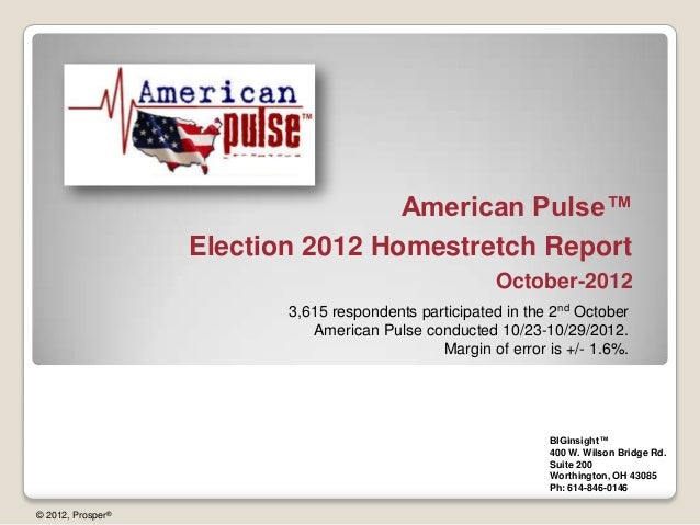 American Pulse™                   Election 2012 Homestretch Report                                                       O...