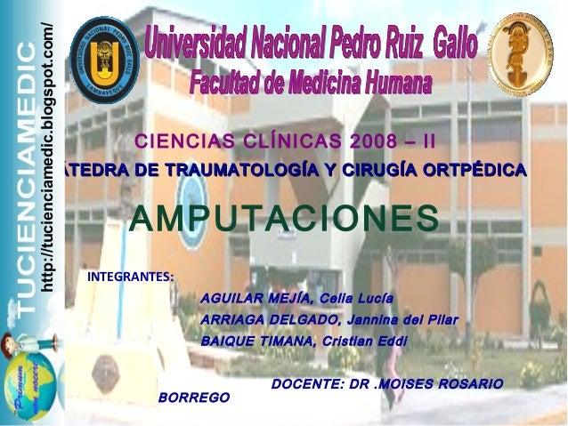 CIENCIAS CLÍNICAS 2008 – II CÁTEDRA DE TRAUMATOLOGÍA Y CIRUGÍA ORTPÉDICACÁTEDRA DE TRAUMATOLOGÍA Y CIRUGÍA ORTPÉDICA AMPUT...