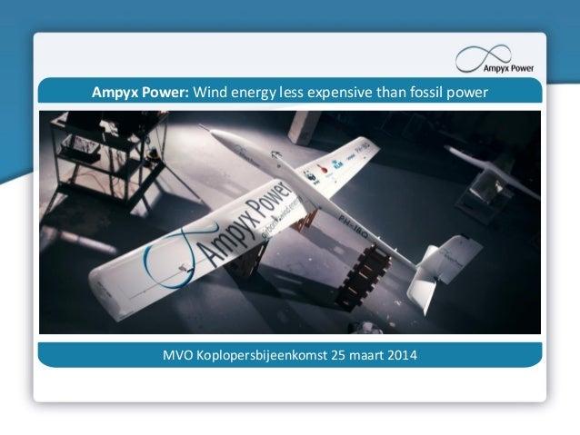 Ampyx Power: Wind energy less expensive than fossil power MVO Koplopersbijeenkomst 25 maart 2014