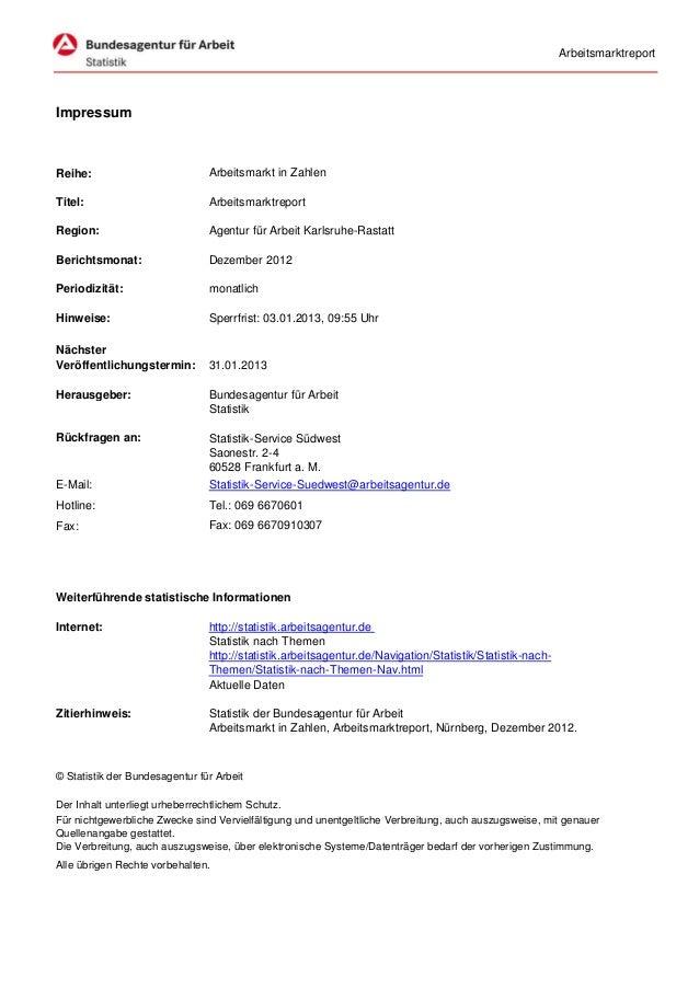 ArbeitsmarktreportImpressumReihe:                          Arbeitsmarkt in ZahlenTitel:                          Arbeitsma...