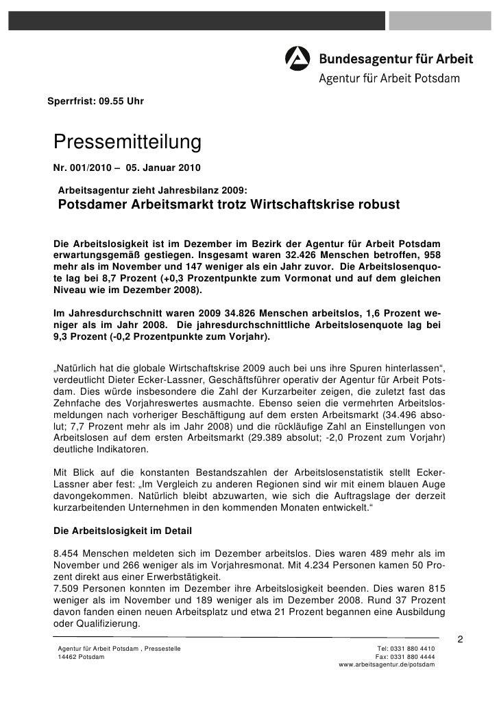 Sperrfrist: 09.55 Uhr Pressemitteilung Nr. 001/2010 – 05. Januar 2010  Arbeitsagentur zieht Jahresbilanz 2009:  Potsdamer ...