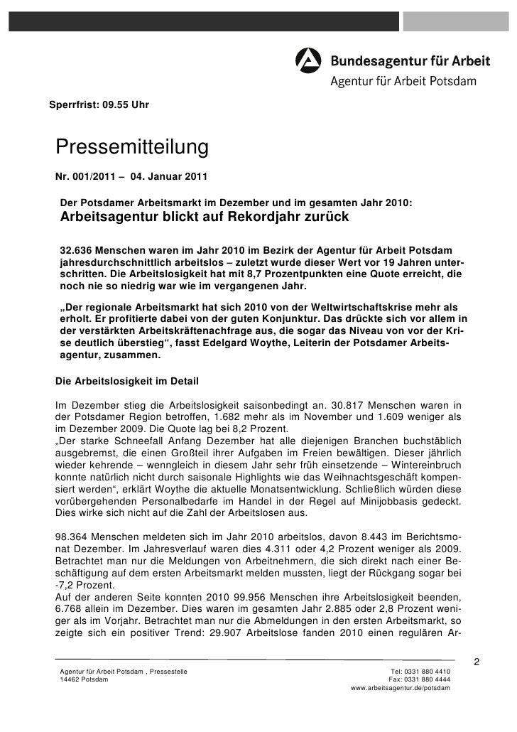 Sperrfrist: 09.55 Uhr Pressemitteilung Nr. 001/2011 – 04. Januar 2011  Der Potsdamer Arbeitsmarkt im Dezember und im gesam...