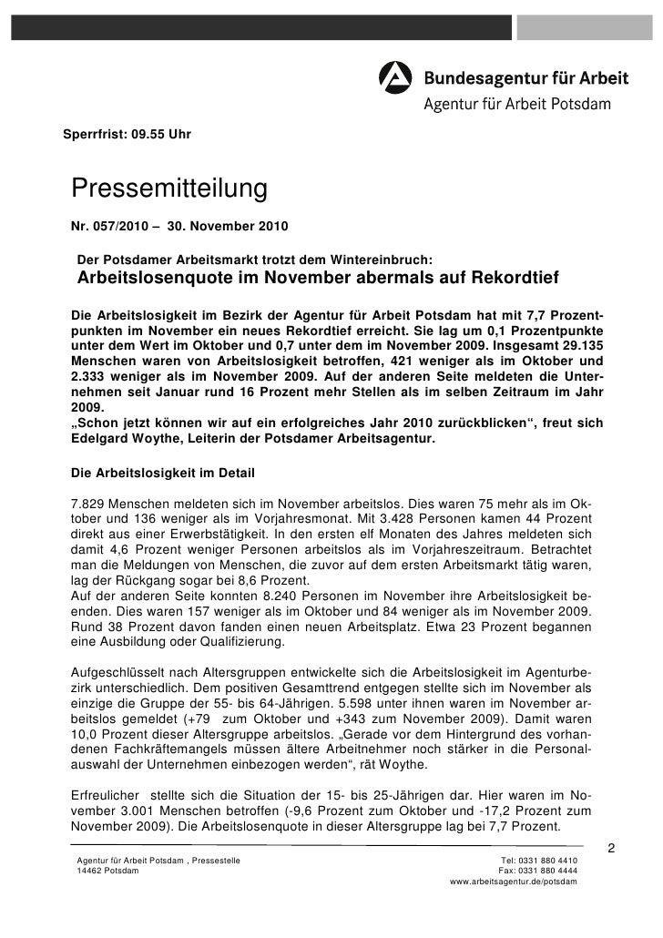 Sperrfrist: 09.55 Uhr Pressemitteilung Nr. 057/2010 – 30. November 2010  Der Potsdamer Arbeitsmarkt trotzt dem Wintereinbr...