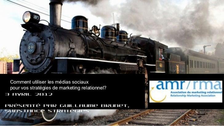 Comment utiliser les médias sociaux pour vos stratégies de marketing relationnel?3 avril 2012Présenté par Guillaume Brunet...