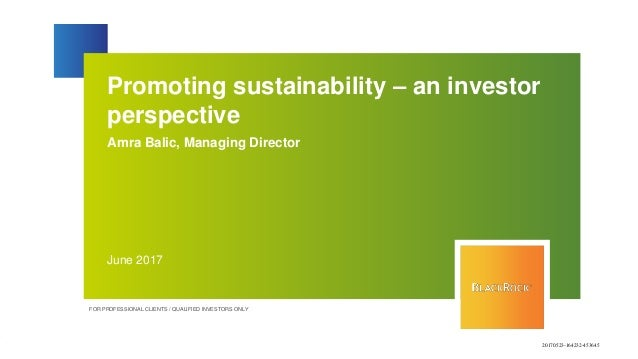 Promoting sustainability – an investor perspective Amra Balic, Managing Director June 2017 FOR PROFESSIONAL CLIENTS / QUAL...