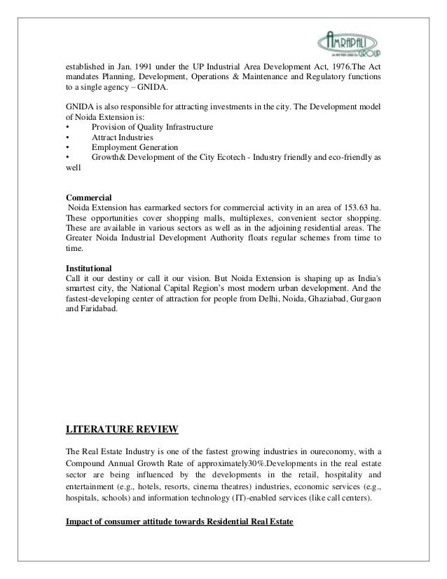 literature review of real estate sector
