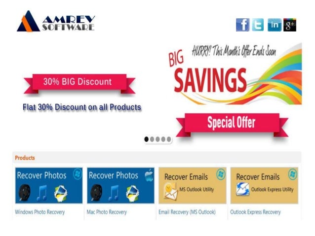 Amrev Software Data Recovery, Outlook Email recovery, Mac Photo Recovery and PST recovery Software