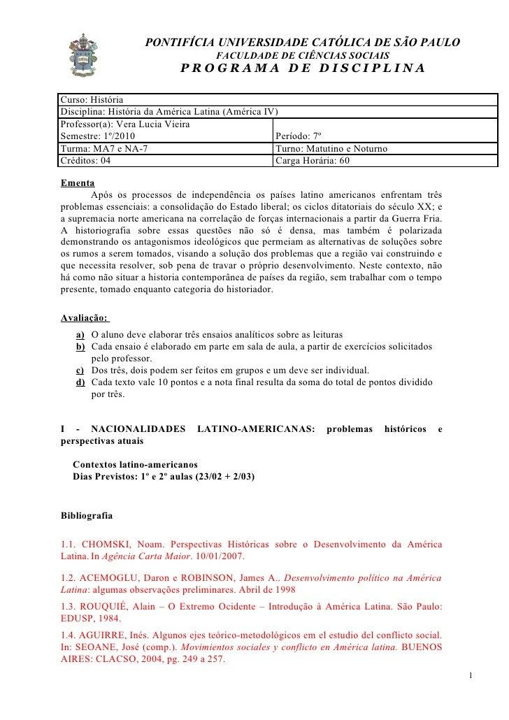 PONTIFÍCIA UNIVERSIDADE CATÓLICA DE SÃO PAULO                                      FACULDADE DE CIÊNCIAS SOCIAIS          ...