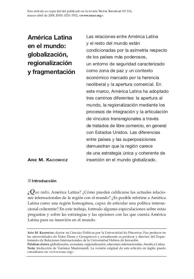 Este artículo es copia fiel del publicado en la revista NUEVA SOCIEDAD No 214,marzo-abril de 2008, ISSN: 0251-3552, <www.n...
