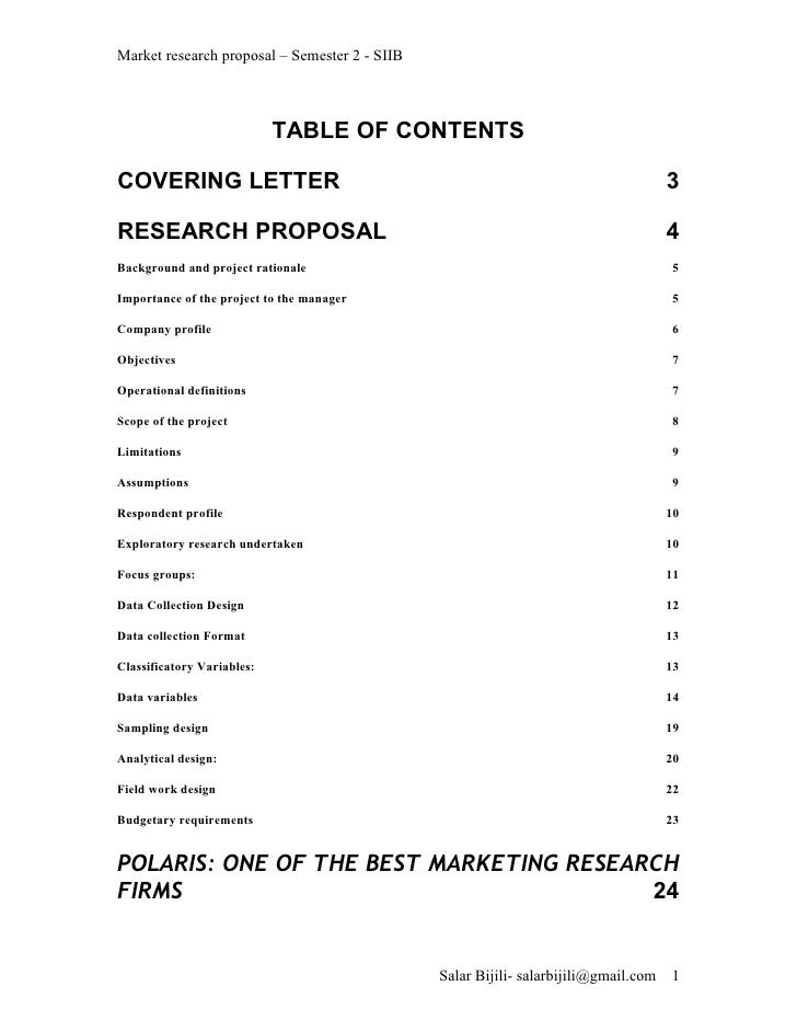 Market research proposal – Semester 2 - SIIB                                TABLE OF CONTENTS  COVERING LETTER            ...