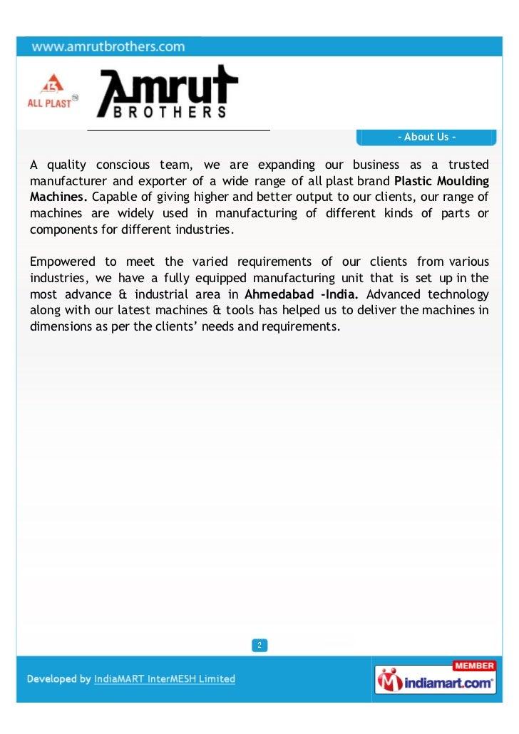 Amrut Brothers, Ahmedabad, Injection Moulding Machines Slide 2