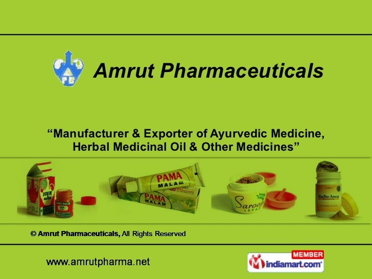 """ Manufacturer & Exporter of Ayurvedic Medicine, Herbal Medicinal Oil & Other Medicines"" Amrut Pharmaceuticals"