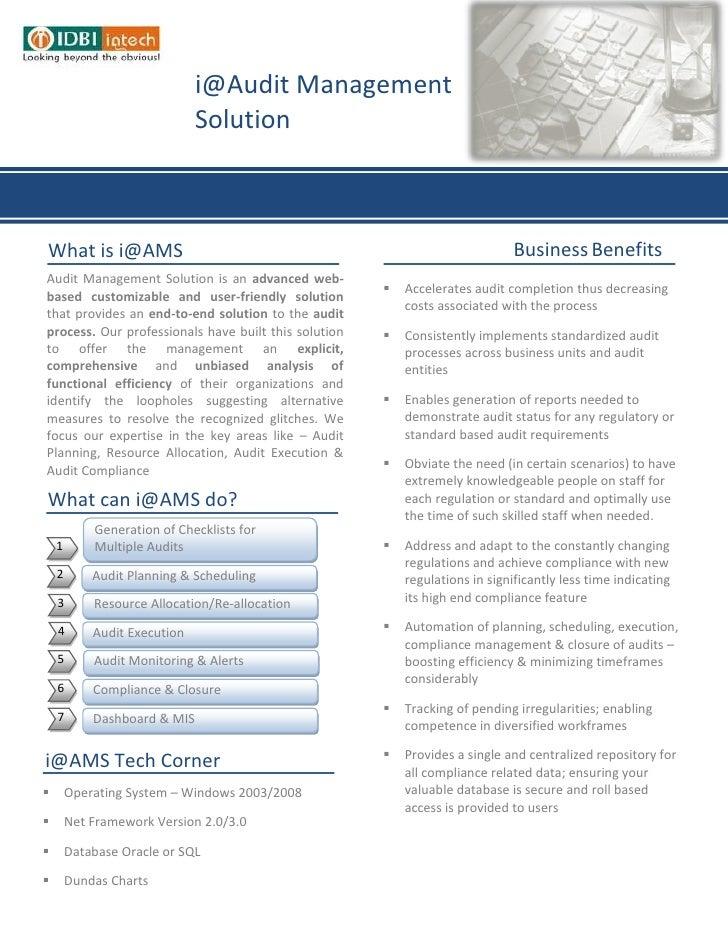 i@Audit Management                              SolutionWhat is i@AMS                                                     ...