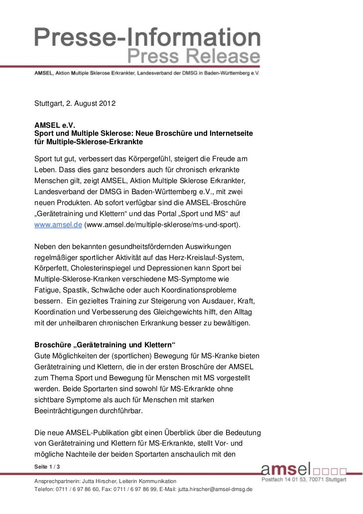 Stuttgart, 2. August 2012AMSEL e.V.Sport und Multiple Sklerose: Neue Broschüre und Internetseitefür Multiple-Sklerose-Erkr...